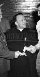 1951 Fred Benners Being Congratulated By Notre Dame President
