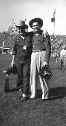 1951 Jim Laughead And Friend At Notre Dame Stadium In 1951
