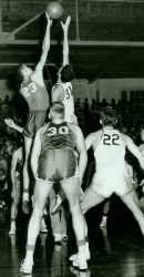 Tom Miller Jumps Against Texas As Art Barnes And Richard Bryant Watch