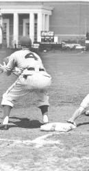 Jim Payne Taking Pickoff Throw During TCU Game (SMU Coliseum Construction In Background)
